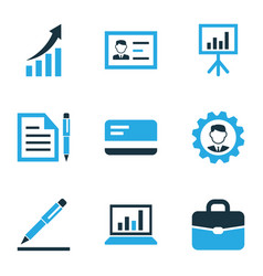 Business colorful icons set collection of growing vector
