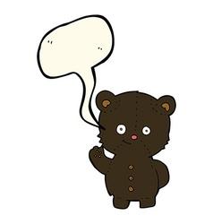 Cartoon waving black bear cub with speech bubble vector