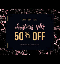 Christmas sale poster on rose gold marble vector