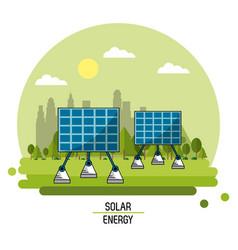 color landscape image solar energy panels vector image