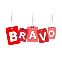 Colorful hanging cardboard tags - bravo vector