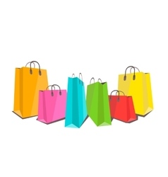 Colorful shopping bags flat on white vector image