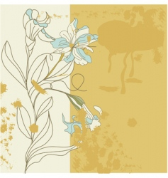 decorative card with iris flowers vector image