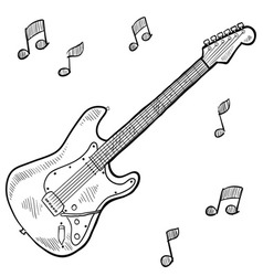 doodle guitar electric vector image