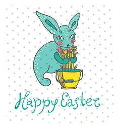Easter card with rabbit and flowers vector image