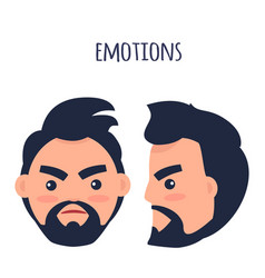 Emotions angry man face isolated vector