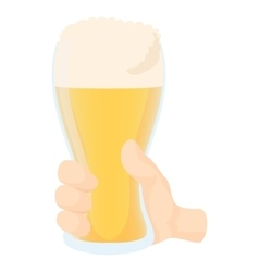 Hand holding glass of beer icon cartoon style vector