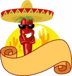 hot chili and banner vector image vector image