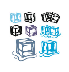 Ice cubes set on white background vector