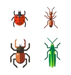Insect icon flat set isolated on white background vector