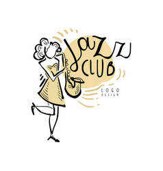 Jazz club logo vintage music label with woman vector