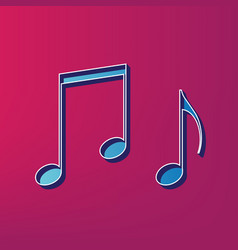 Music notes sign blue 3d printed icon on vector