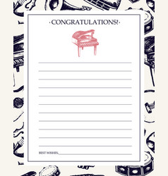 Musical instruments - hand drawn template card vector