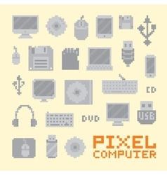 Pixel art isolated computer objects set vector image