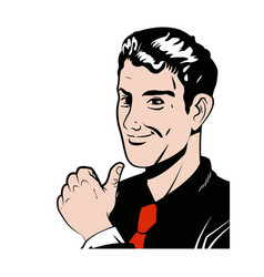 Pop art man thumb up like with red tie vector