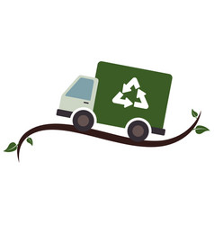 Recycle truck ecology symbol icon vector