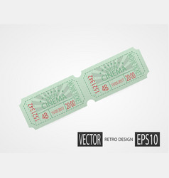 retro cinema tickets green design vector image