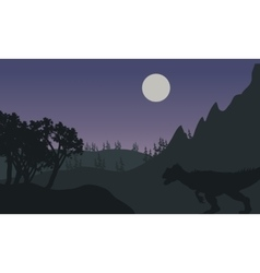 Silhouette of one allosaurus in fields vector