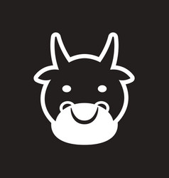 Stylish black and white icon indian cow vector