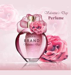 Women perfume bottle delicate rose fragrance vector
