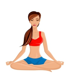 Young woman in lotus pose vector image