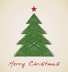 Christmas sketch fir tree vector image