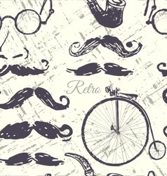 Ink hand drawn retro seamless pattern vector