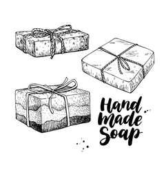 Handmade natural soap set hand drawn vector image
