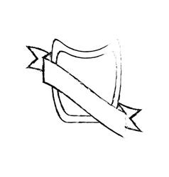 Shield ribbon stamp decor sketch vector