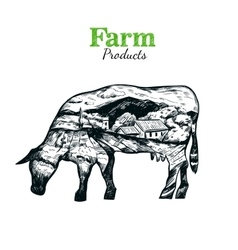 Cow Silhouette Sketch Poster vector image