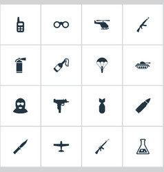set of 16 simple battle icons can be found such vector image