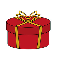 Color image cartoon christmas rounded giftbox with vector