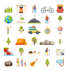 Travel rest symbols tourist accessories icons set vector