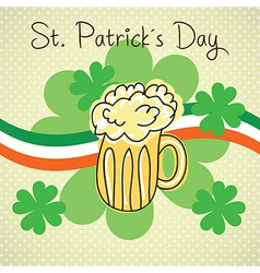 St patricks day element beer and flag of ireland o vector