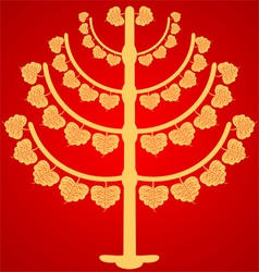 Buddhist tree on a red background vector