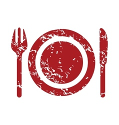 Red grunge dinner logo vector