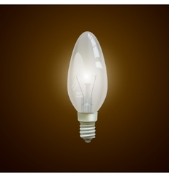 Realistic lit light bulb isolated on black vector