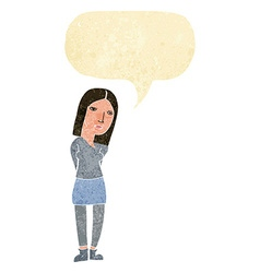 Cartoon woman waiting with speech bubble vector