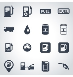 Black gas station icon set vector