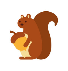 autumn season squirrel with acorn animal forest vector image vector image