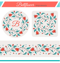 Bellflower floral elements wedding design vector