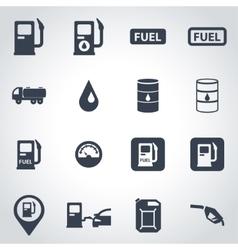 black gas station icon set vector image vector image