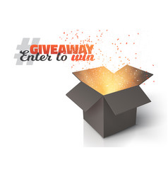 Box giveaway competition template vector