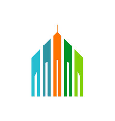 building architecture colored logo vector image