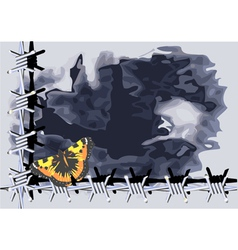 Butterfly and barbed wire vector