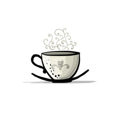ceramic teacup sketch for your design vector image vector image