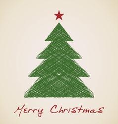 Christmas sketch fir tree vector