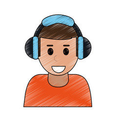 Color pencil cartoon half body man with headphones vector