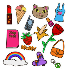 Colorful set of patches vector