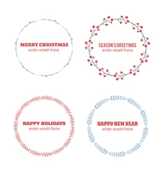 Decorative winter circle wreath collection vector image vector image